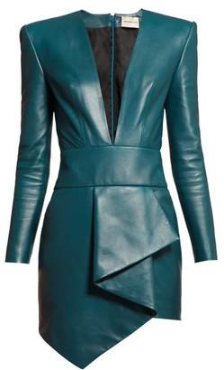 Alexandre Vauthier Plunge-neck Leather Mini Dress - Womens - Blue