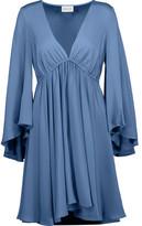 Milly Ella Pleated Silk-Blend Satin Mini Dress