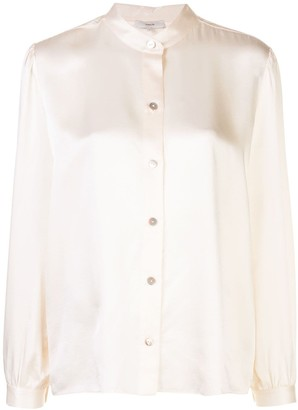 Vince Mandarin Collar Long Sleeve Shirt