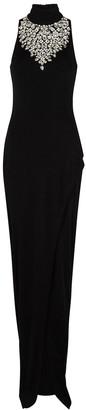 Balmain Black crystal-embellished jersey gown