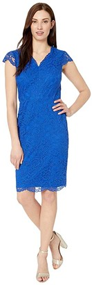 Lauren Ralph Lauren Bambina Cap Sleeve Day Dress (Regal Sapphire) Women's Dress