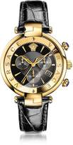 Versace Revive Chrono Black and PVD Gold Plated Women's Watch w/Croco Embossed Band