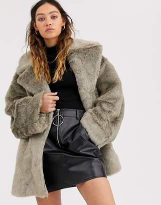 Weekday tabitha faux fur coat in grey