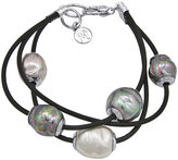 Pearl Bracelet, Baroque Organic Man-Made Pearl and Leather Three Row