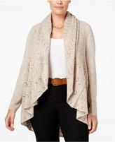 Karen Scott Plus Size Pointelle Open-Front Cardigan, Only at Macy's