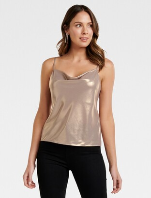 Forever New Colina Metallic Cowl Cami - Rose Dust - 10