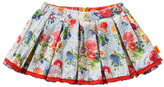 Oilily Beauty Blue Floral Soetje Pleated Skirt - Infant & Toddler