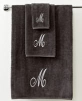 "Avanti Bath Towels, Monogram Initial Script Granite and Silver 16"" x 30 "" Hand Towel"