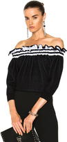 3.1 Phillip Lim Off Shoulder Ruffle Tshirt in Black.