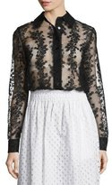 Carven Long-Sleeve Sheer Floral Organza Blouse, Black