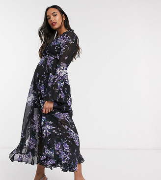 Asos DESIGN Maternity wrap maxi dress with frills in dark based floral print
