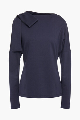 Victoria Victoria Beckham Bow-embellished Stretch-jersey Top