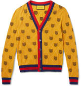 Gucci Stripe-Trimmed Tiger-Jacquard Wool Cardigan