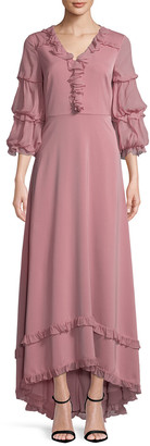 Mikael Aghal Blouson Sleeve Gown