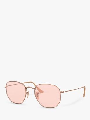 Ray-Ban RB3548N Hexgonal Sunglasses, Copper/Pink