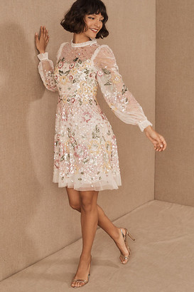 Anthropologie Needle & Thread Rosalie Dress By in White Size 0