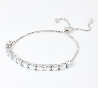 Diamonique Oval Cut Aurora Borealis Bracelet, Sterling Silver