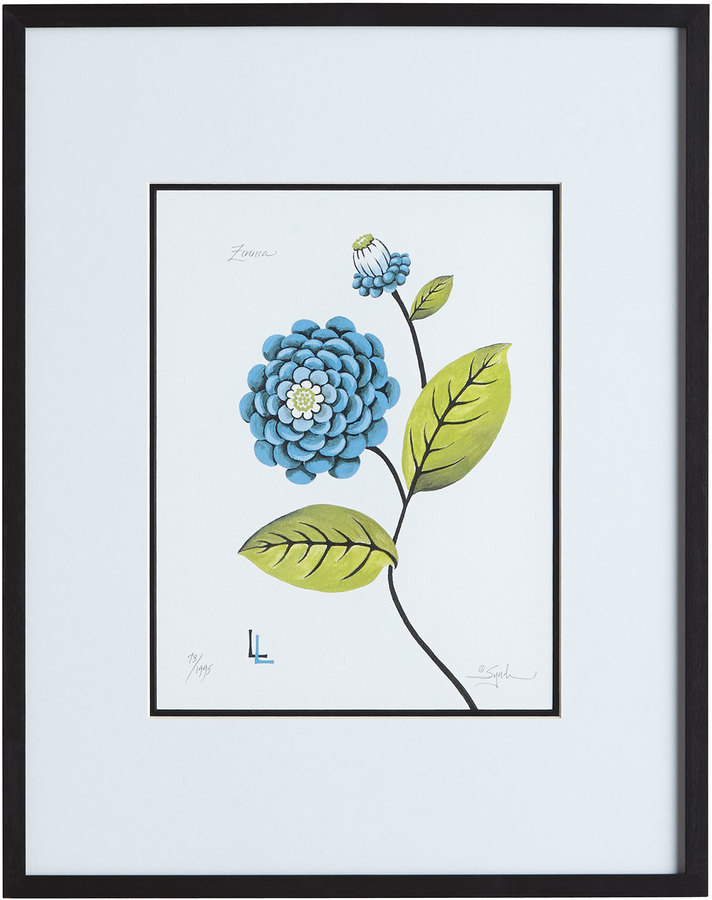 Horchow Blue Zinnia Print