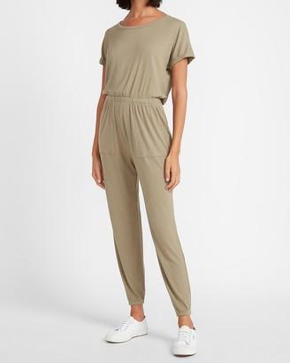 Express Soft Ribbed Short Sleeve Jumpsuit