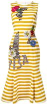Dolce & Gabbana embellished striped dress - women - Cotton/Spandex/Elastane/Silk/Wool - 44