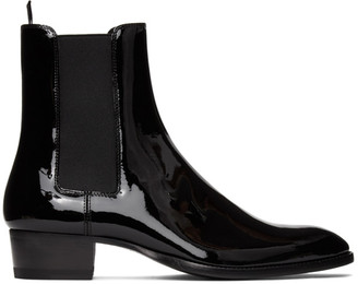 Saint Laurent Black Patent Wyatt Chelsea Boots
