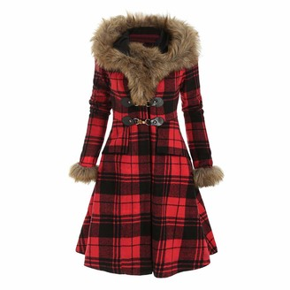 jieGorge Blouses for Women Elegant Womens Vintage Stripe Plus Size Plaid Long Sleeve Faux Fur Hood Longline Coat