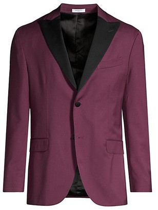 Boglioli Contrast Lapel Single-Breasted Suit Jacket