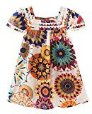 AMA(TM) Toddler Kids Baby Girls Ruffle Sunflower Princess Dress Pageant Wedding Party Dresses (5T, Multicolor)