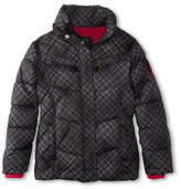 U.S. Polo Assn. Kids Belted Plaid Bubble Jacket with Faux Trimmed Hood (Big Kids)