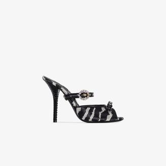 Dolce & Gabbana black Fria 105 printed leather sandals