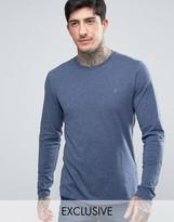 Farah Twisted Yarn Marl Long Sleeve T-Shirt Exclusive In Navy