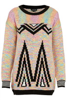 Topshop Knitted Aztec Rainbow Jumper