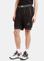 Adidas By Kolor Men's Climachill Layered Mesh Shorts In Black