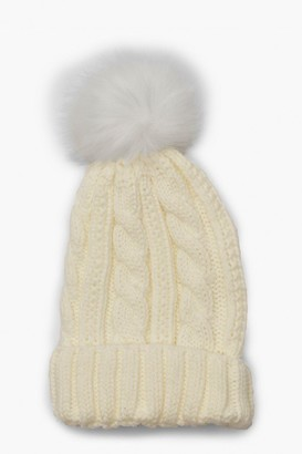 boohoo Cable Knit Faux Pom Beanie