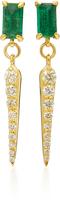 Ila 14K Gold Emerald and Diamond Earrings