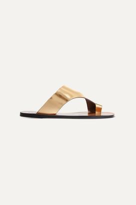 Atelier Atp ATP Roma Cutout Metallic Leather Sandals - Gold