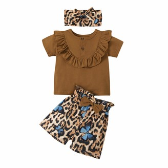 Zerototens Kids Clothes Set Zerototens Kids Baby Girls 3Pcs Summer Clothes Set 0-24 Months Toddler Newborn Short Sleeve Ruffle T-Shirt Tops Elastic Waist Butterfly Leopard Printed Shorts Bowknot Headbands Infant Suits Outfits