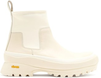 Jil Sander Leather And Scuba-jersey Ankle Boots - Beige