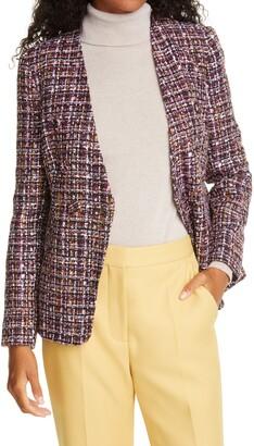 Helene Berman Collarless Button Front Tweed Jacket