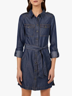 Warehouse Long Sleeved Belted Utility Shirt Dress, Mid Wash Denim
