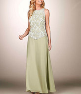 J Kara Chiffon Beaded Bodice Chiffon Skirt Mock 2-Piece Set Gown