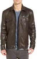 John Varvatos Men's Leather Zip & Snap Front Jacket