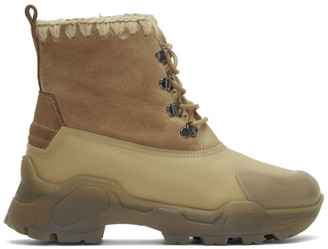Mou Beige Lace-Up Boots