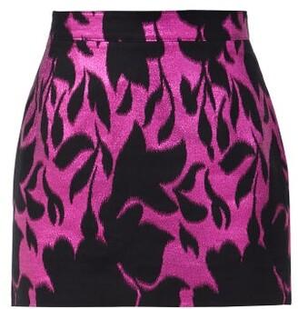 Elzinga - High-rise Floral Metallic-jacquard Mini Skirt - Black Pink