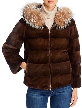 Maximilian Furs Mink Fur & Fox Fur Trim Hooded Reversible Jacket - 100% Exclusive