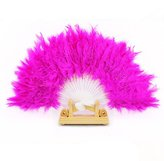Tonsee Nice Feather Fan for Dance Props Hand Goose Feather Folding Fan Wedding