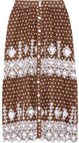 Miguelina Carolina Polka-dot Broderie Anglaise Cotton Midi Skirt - Chocolate