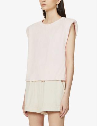Prevu Delos padded shoulder cotton-blend T-shirt