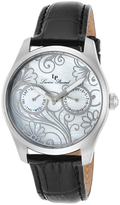 Lucien Piccard Mother-of-Pearl & Black Lovemaze Leather-Strap Watch - Women