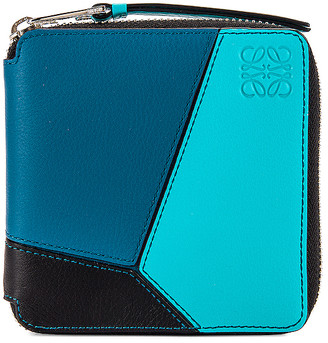 Loewe Puzzle Square Zip Wallet in Dark Lagoon & Black | FWRD